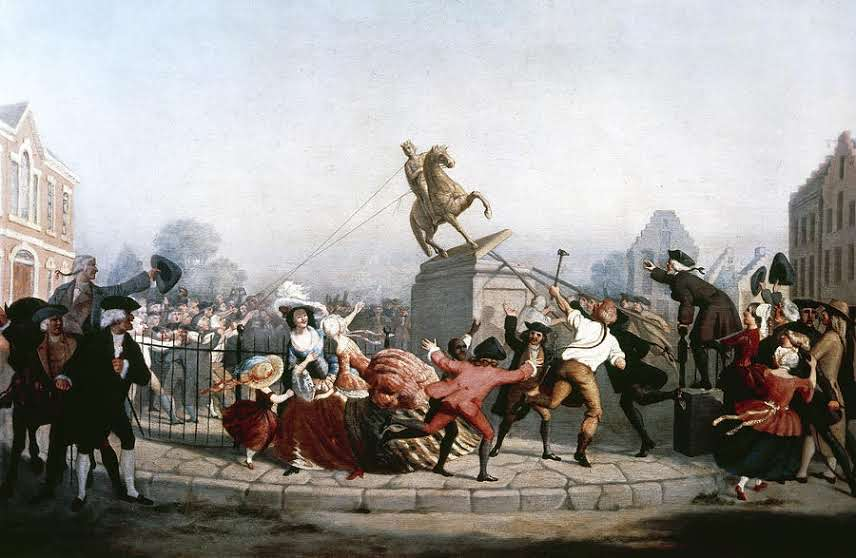 Toppling King Georges statue 1776 2